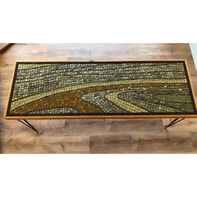 Vintage Wood Framed Tile Mosaic Sofa Table With Hairpin Legs For Sale - Image 12 of 13