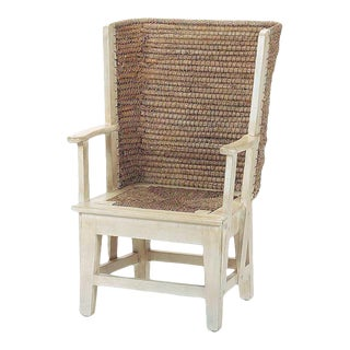 Orkney Isles Small Warming Chair, Antique White For Sale