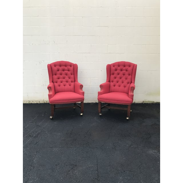Textile Red Upholstered Wingback Chairs - a Pair For Sale - Image 7 of 7