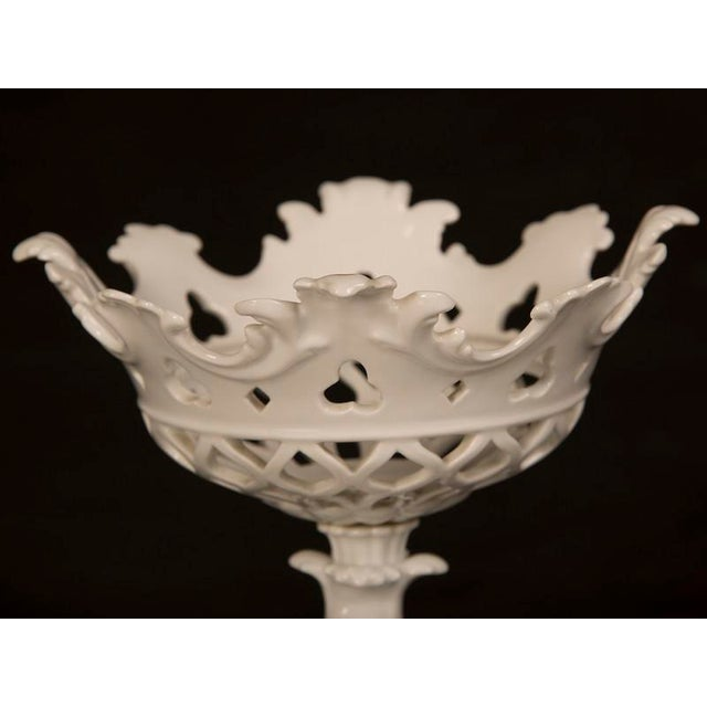 Mid 19th Century 19th Century Louis Philippe Period White Glazed Porcelain Lattice Work Footed Centerpieces - a Pair For Sale - Image 5 of 7