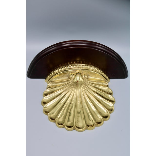 Coastal Wood and Brass Clam Shell Wall Shelves - a Pair For Sale - Image 11 of 13
