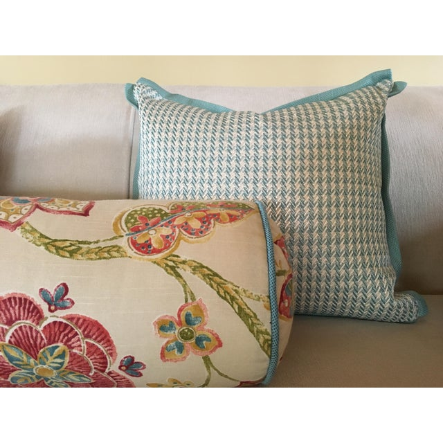 Aqua Houndstooth Pillow Covers - A Pair For Sale - Image 9 of 13