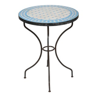 20th Century Moroccan Mosaic Blue Tile Bistro Table on Iron Base For Sale