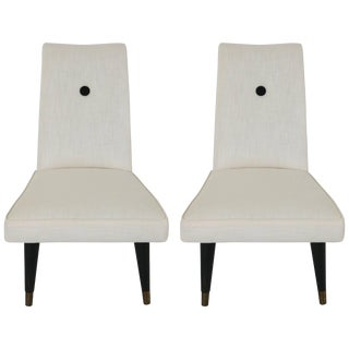 Mid-Century Modern Slipper Chairs in White and Black Upholstery - a Pair For Sale