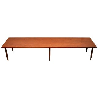 Midcentury Long Walnut Coffee Table For Sale