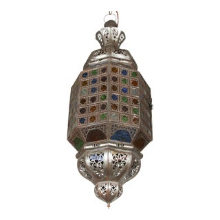 Moroccan Handcrafted Light Fixture With Multi-Color Glass For Sale
