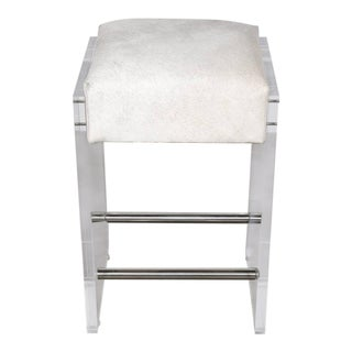 Gigi Lucite and Hide Counter Stool With Foot Rests For Sale