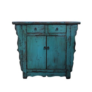 Distressed Pastel Teal Blue Lacquer Mid Size Credenza Table Cabinet For Sale