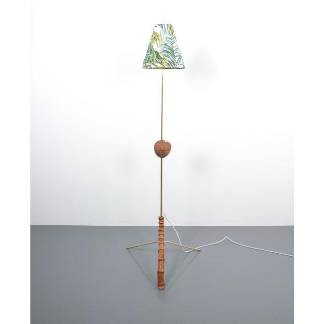 Coconut Brass Bamboo Floor Lamp Attr. Kalmar, Austria 1950. Stylish austrian modern floor light made from bend bamboo and...