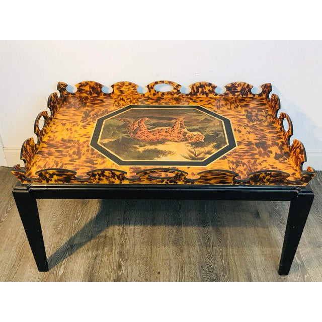 Mid 20th Century Regency Style Tortoiseshell & Jaguar Motif Coffee Table by William Skilling For Sale - Image 5 of 11