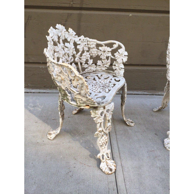 Traditional Pair of Vintage Cast Iron Garden Chairs For Sale - Image 3 of 6 - Superior Pair Of Vintage Cast Iron Garden Chairs DECASO
