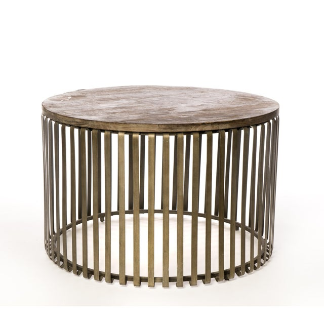 Metal Cage Oak Topped Cocktail Table - Image 3 of 3