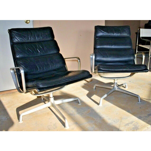 Mid Century Eames Herman Miller Lounge Chairs Black Leather- A Pair For Sale - Image 13 of 13