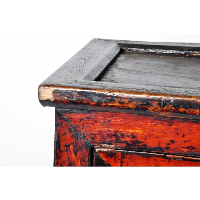 Late 19th Century Chinese Red Lacquer Cabinet For Sale - Image 5 of 11