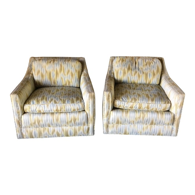 Ikat Swivel Club Chairs - a Pair - Image 1 of 3
