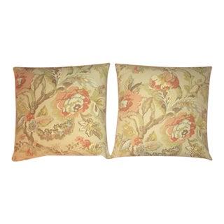 Throw Pillow - Beautiful Linen MIX Floral Textile