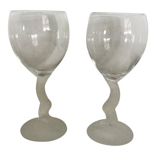 Lenox Swan Lake Lady Wine Water GLasses - a Pair For Sale