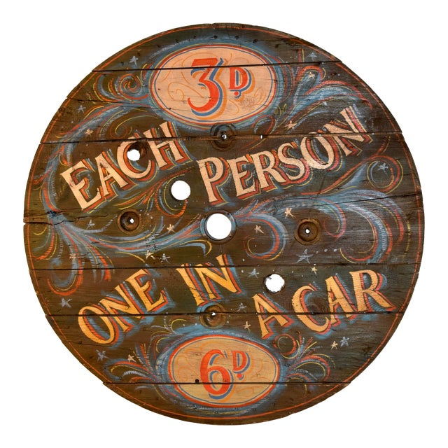 20th C English Decorated Spool Sign For Sale
