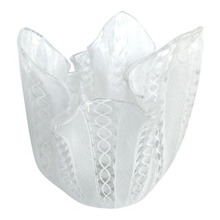 Venini Latticino Glass Handkerchief (Fazzoletto) Vase C.1950 For Sale
