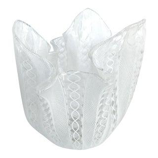 Venini Latticino Glass Handkerchief (Fazzoletto) Vase C.1950