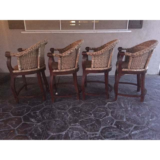 Vintage Banana Wicker Counter Stools - Set of 4 - Image 3 of 6