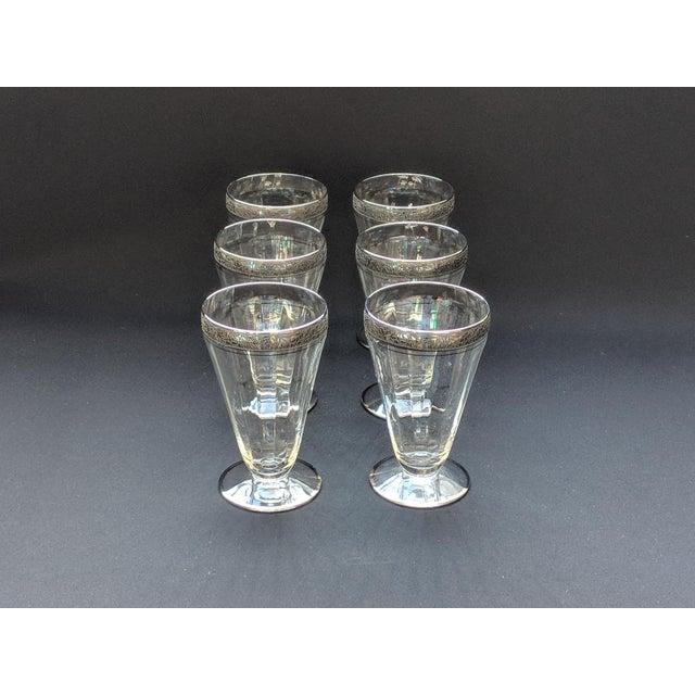 Hollywood Regency Silver Embossed Dessert Glasses – Set of 6 For Sale - Image 3 of 11