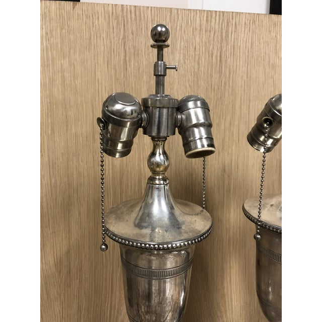 English English Traditional Antiqued Chrome Finish Table Lamps - a Pair For Sale - Image 3 of 5