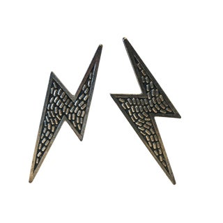 Vintage Lighting-Bolt Silver-Tone Architectural Statement Earrings For Sale
