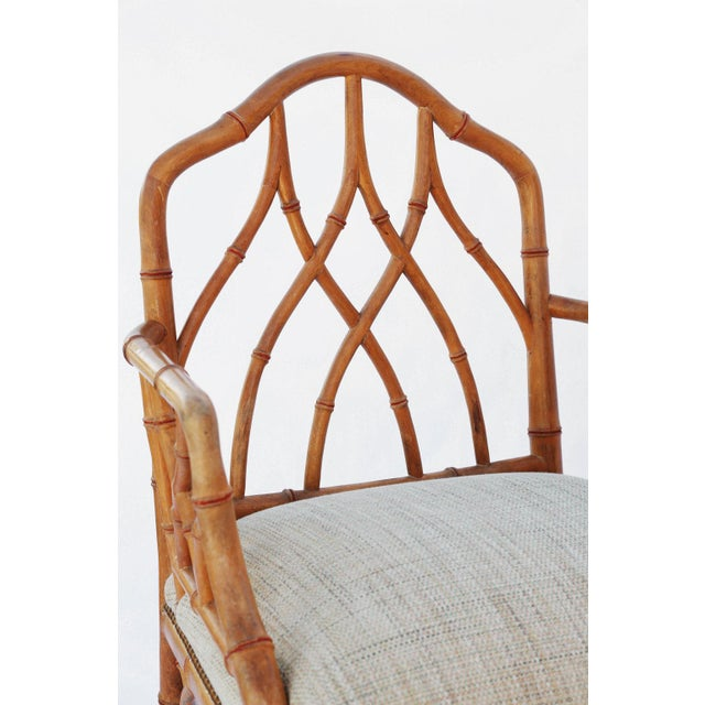1970s Pair of Gothic Style Fretwork Faux Bamboo Armchairs For Sale - Image 5 of 7