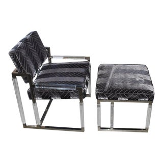 1965 Metric Lounge Chair and Ottoman Signed by Charles Hollis Jones For Sale
