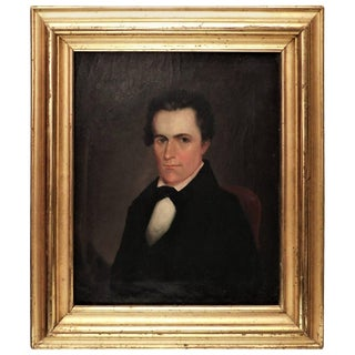Small Portrait Oil Painting on Canvas, American, Circa 1835 For Sale