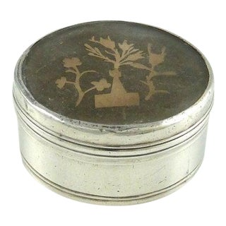 Antique Silver Mother of Pearl Snuff Box / Silver Pill Box / Paper Cut Work / Scherenschnitte / Miniature Paper Cutting For Sale