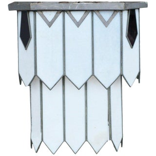 Art Deco Leaded Glass Chandelier For Sale