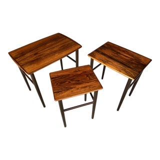 Mid Century Danish Modern Solid Rosewood Nesting Tables - Set of 3