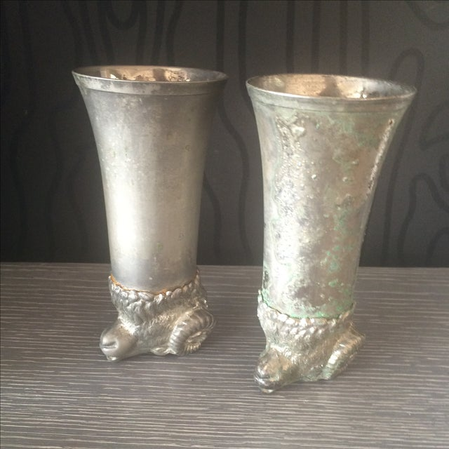 Silver Plated Pewter Ram Stirrup Cups - A Pair - Image 9 of 9
