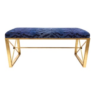 Modern Port 68 Scalamandre Style Blue and Gold Zebra Print Bench For Sale