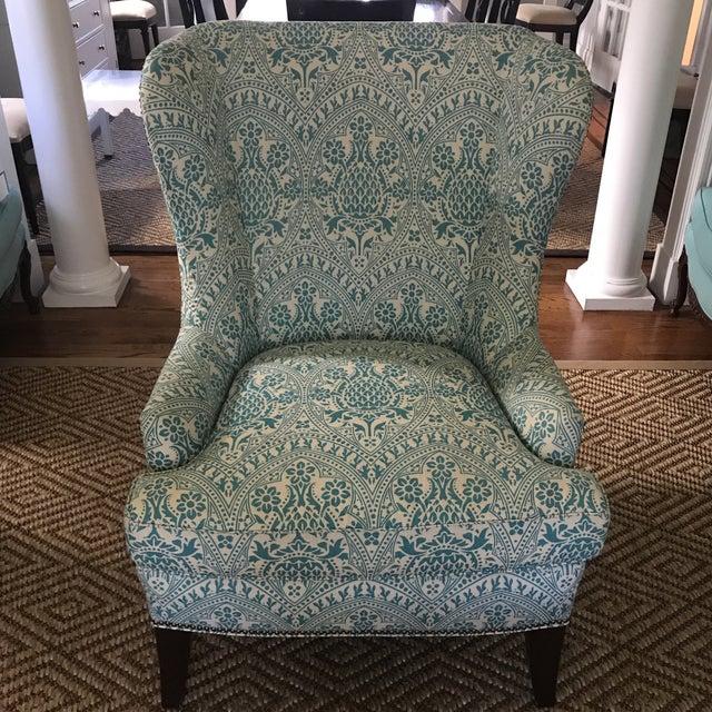 Aqua Modern Wingback Chair Quadrille China Seas For Sale - Image 8 of 8