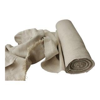 Antique Nubby Herringbone 14 Yards Rare Pale Heavy 23 Wide Linen Homespun 1800's For Sale