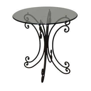 Wrought Iron Base Round Glass Top Bistro Dining Table For Sale