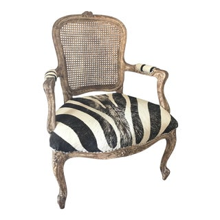 French Traditional Imports Distressed Armchair For Sale