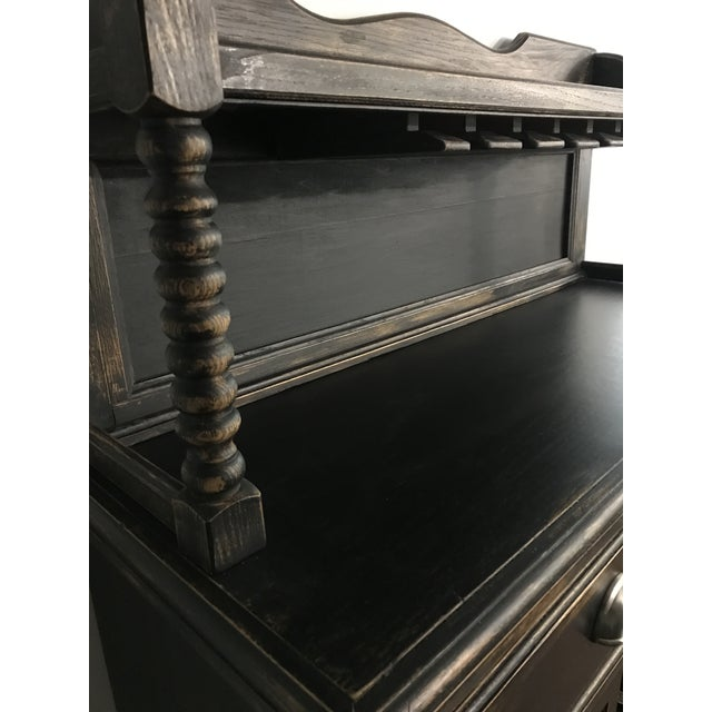 Black Distressed Bistro Coffee Bar Hutch Cabinet For Sale - Image 11 of 11