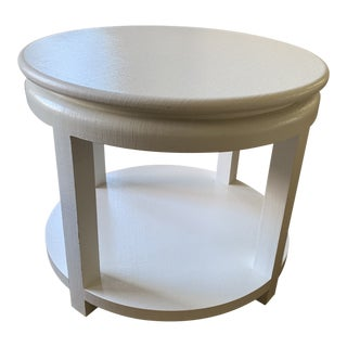 Karl Springer Style White Linen Wrapped Round Side Table For Sale