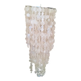 West Elm 3-Tiered Capiz Shell Chandelier and Table Lamp For Sale