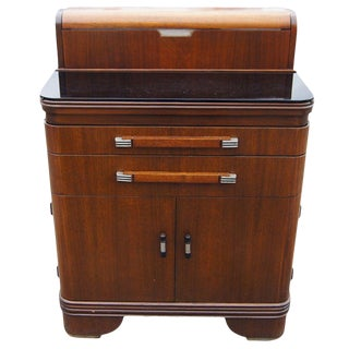 Art Deco Hamilton Donald Deskey Walnut Dental Cabinet For Sale