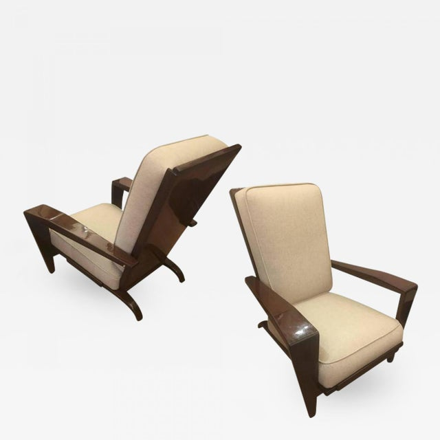 1950s Andre Sornay Comfortable Pair of Lounge Chair Newly Restored in Neutral Cloth For Sale - Image 5 of 5