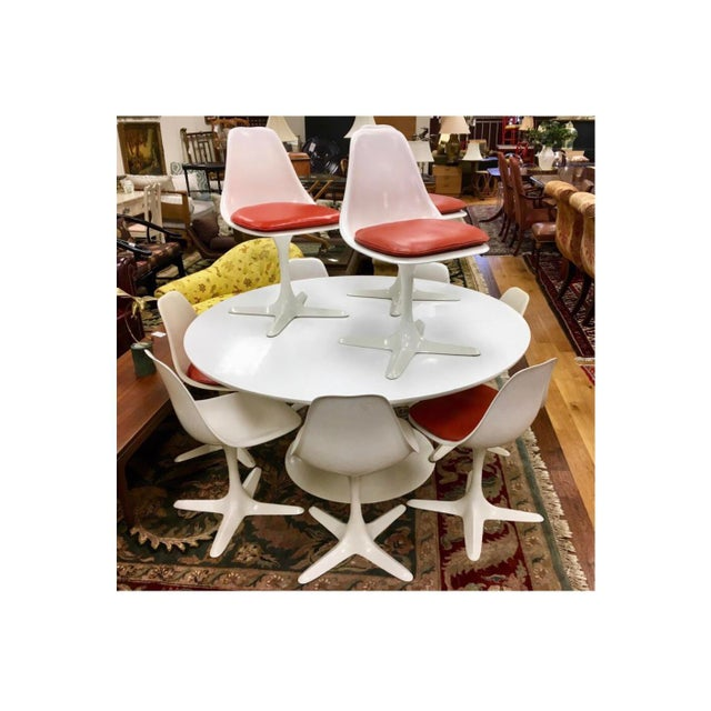 Industrial Mid-Century Modern Saarinen Tulip Dining Set by Burke Usa, 1970s For Sale - Image 3 of 13