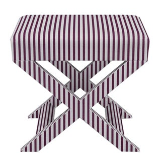 X Bench in Plum Fairfield Stripe For Sale