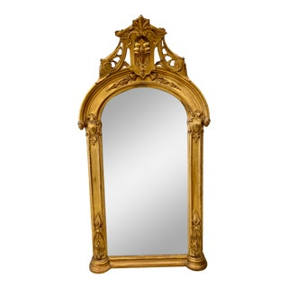Antique Tall Arched Carved Giltwood Mirror For Sale