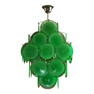 Mid Century Modern Green Disc Murano Chandelier, by Vistosi