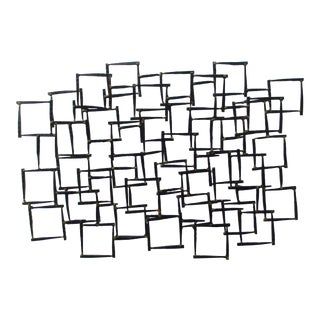 Abstract Modernist Brutalist Metal Wall Sculpture For Sale